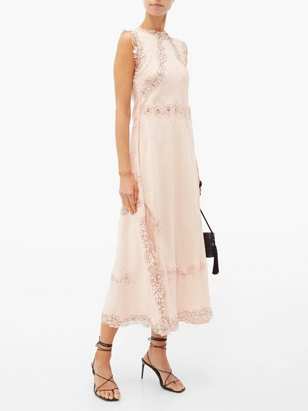 Loewe lace insert crinkled dress in light pink