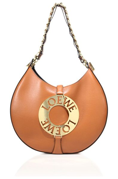Loewe large joyce leather shoulder bag in tan - Cutout logo detail polishes sleek rounded leather bag....