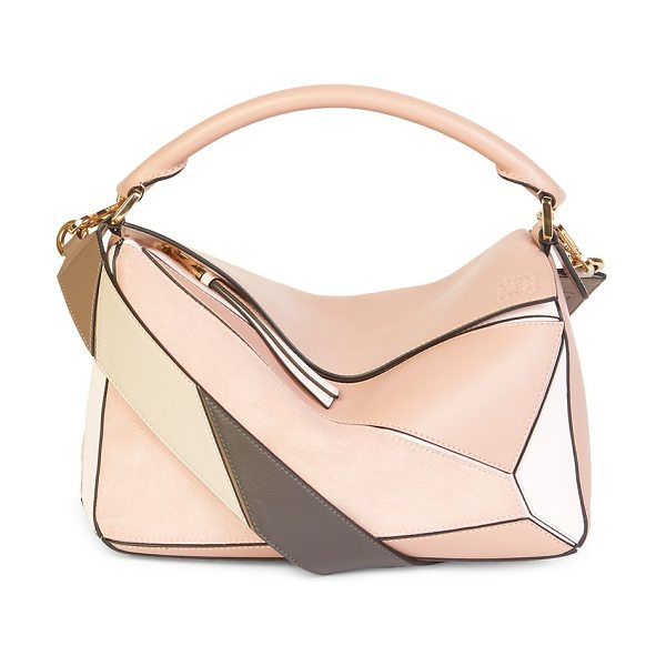 Loewe medium multicolor leather puzzle bag in blush multi