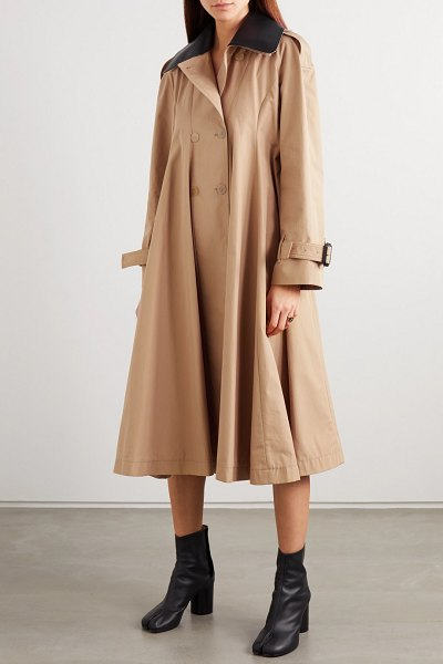 Loewe leather-trimmed pleated cotton-canvas trench coat in beige