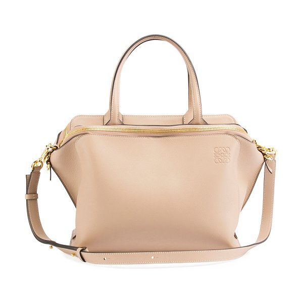Loewe Leather Zipper Tote Bag in beige - Loewe tote bag in classic calf leather. Rolled tote...