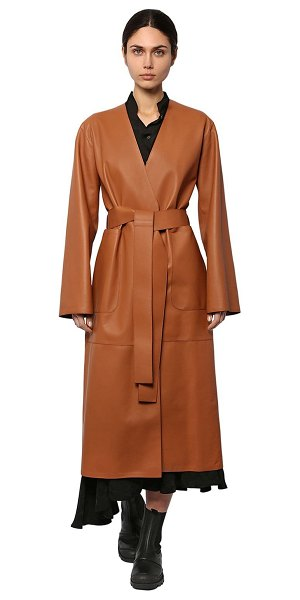 Loewe Long leather belted coat in tan
