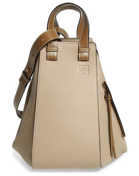 Loewe medium hammock calfskin leather shoulder bag in sand/ mink