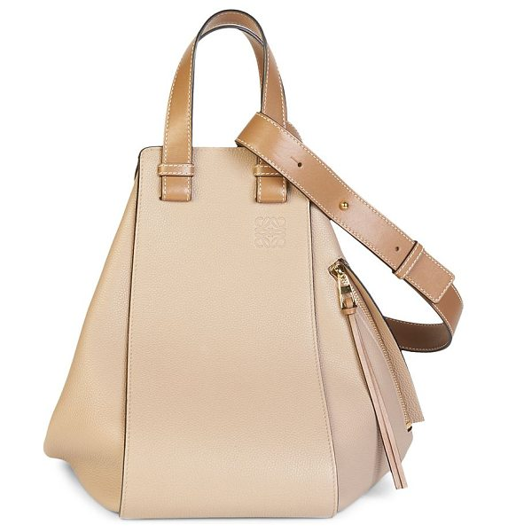 Loewe small hammock bag in sand - Structural handbag in soft grained leather. Double top...