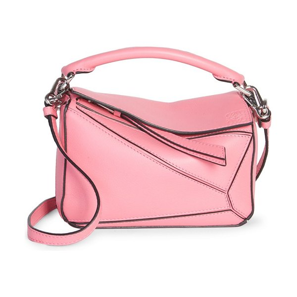 Loewe mini puzzle bag in wild rose - Mini leather puzzle bag detailed with bold contrast...