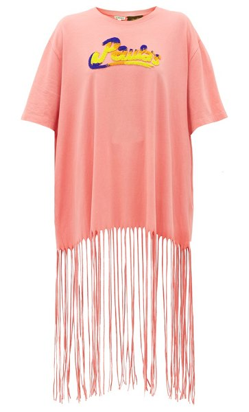 Loewe Paula's Ibiza bead-embroidered logo fringed t-shirt in pink