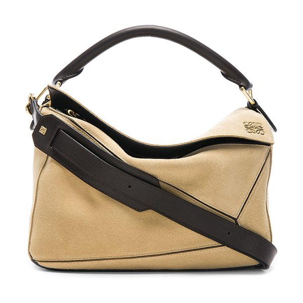 "LOEWE Puzzle Bag in neutrals - ""Calfskin suede with signature herringbone fabric lining..."