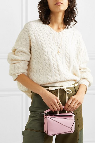 Loewe puzzle mini textured-leather shoulder bag in pink