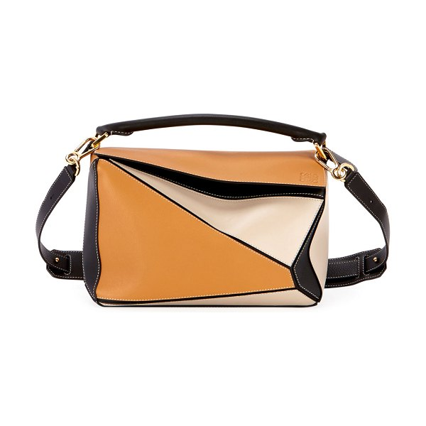 Loewe Puzzle Patchwork Satchel Bag in beige