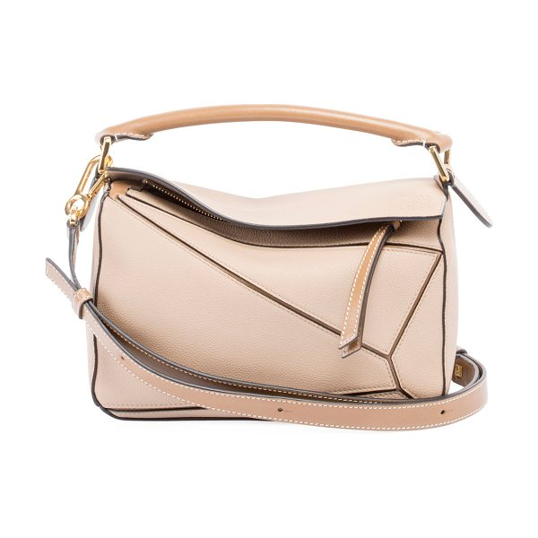 Loewe Puzzle Small Leather Satchel Bag in sand - Loewe grained calfskin bag with signature puzzle-piece...