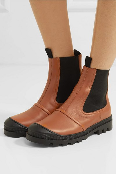 Loewe rubber-trimmed leather chelsea boots in tan