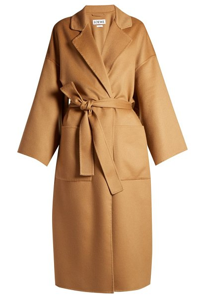 Loewe Double Breasted Wool And Cashmere Blend Coat in light brown - Loewe - Loewe updates the traditional trench coat with...