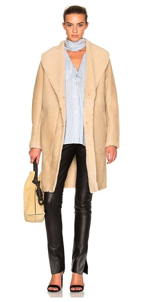 Loewe Shearling Coat in neutrals - Self: 100% lambskin suede - Contrast Fabric: 100% real...