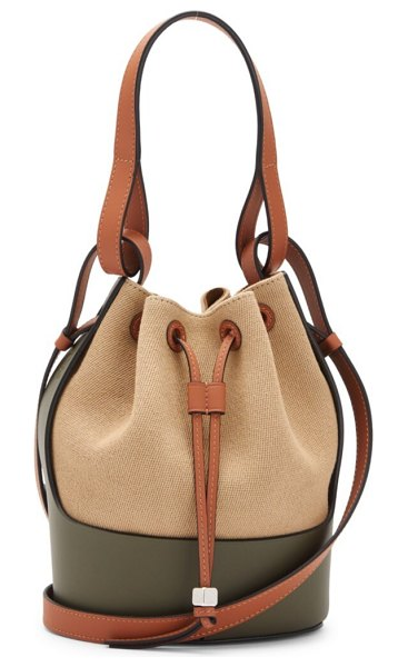 Loewe small balloon leather-trimmed canvas bucket bag in neutral