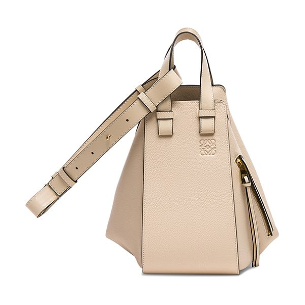 LOEWE Small Hammock Bag in ivory - Calfskin leather with signature herringbone fabric...