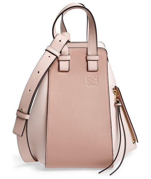 Loewe small hammock bicolor leather hobo in pink - In keeping with Loewe's signature sleight-of-hand...