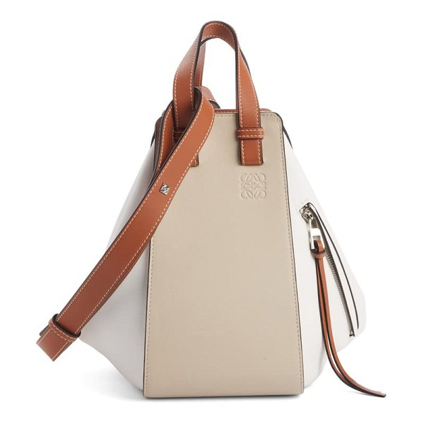 Loewe small hammock colorblock leather hobo in beige