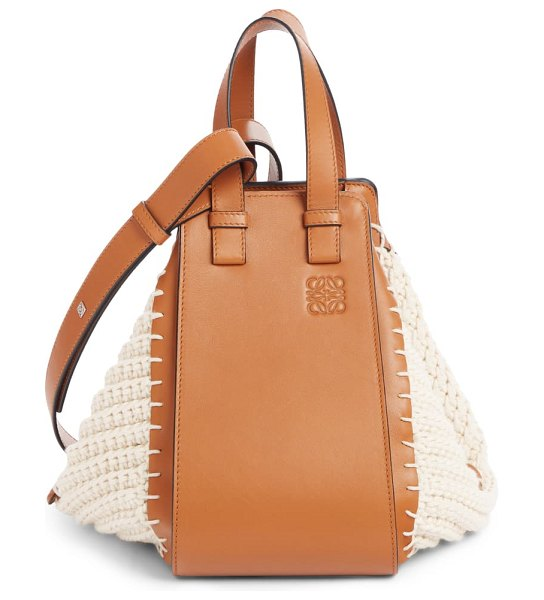 Loewe small hammock cotton & leather hobo in brown