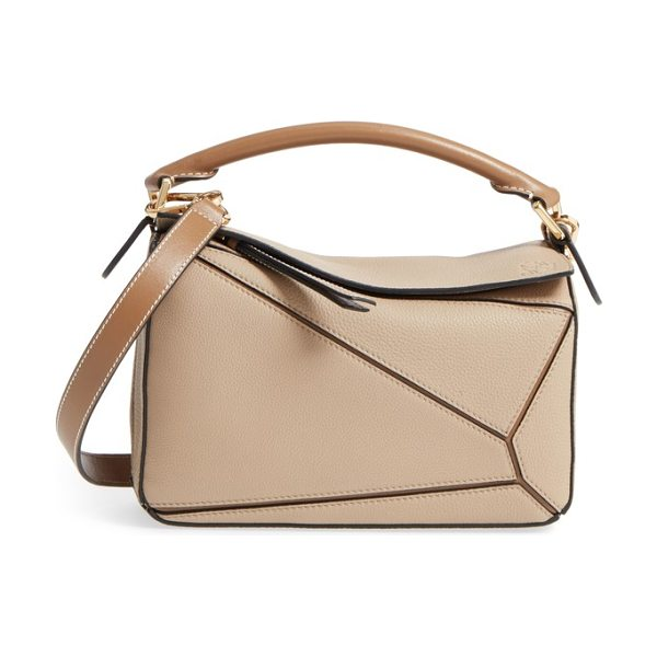 Loewe puzzle small leather bag in beige
