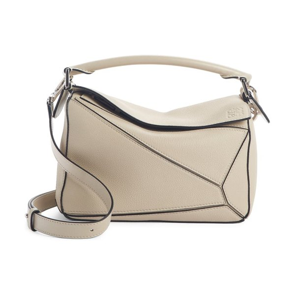 Loewe small puzzle leather shoulder bag in beige