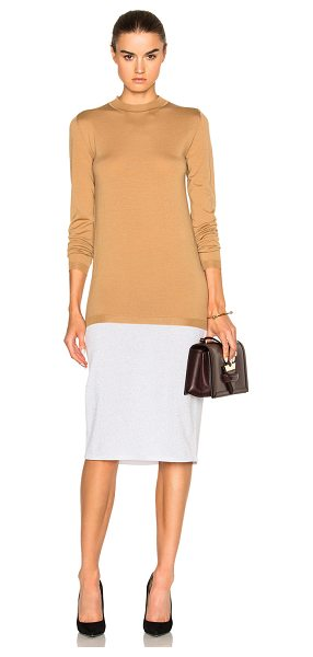 Loewe Two Tone Tee Dress in brown,neutrals - 57% virgin wool 23% cotton 14% viscose.  Made in Italy. ...