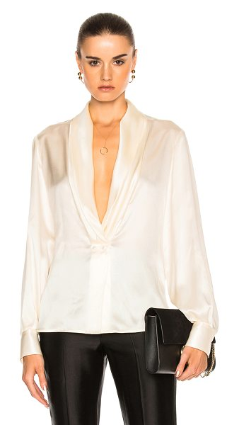 Loewe V Neck Satin Top in neutrals,white - 100% silk.  Made in Italy.  Dry clean only.  Draped...