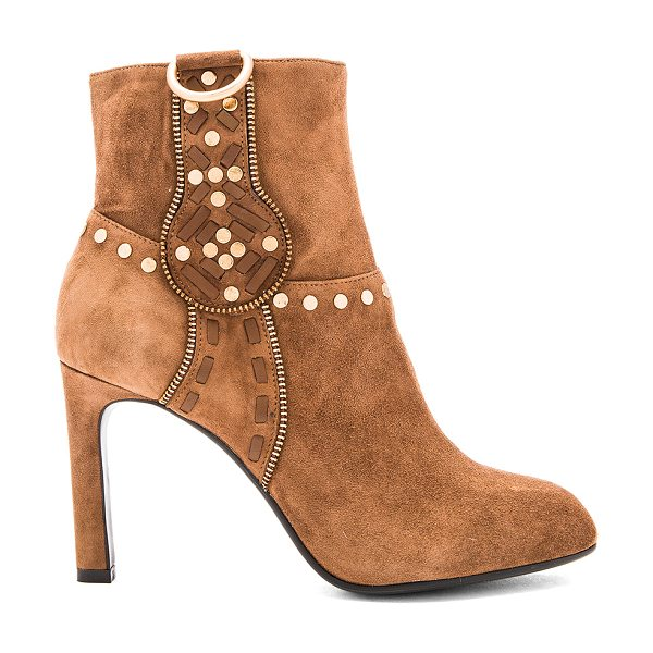Lola Cruz Aniak Bootie in tan - Suede upper with man made sole. Side zip closure. Flat...