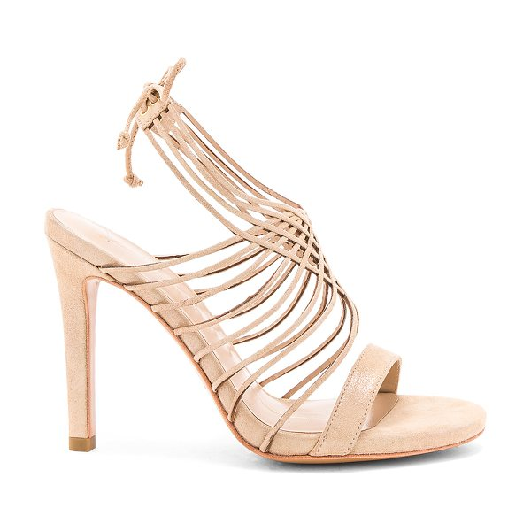 "Lola Cruz Strappy Heel in metallic gold - ""Glittered suede upper with leather sole. Ankle strap..."