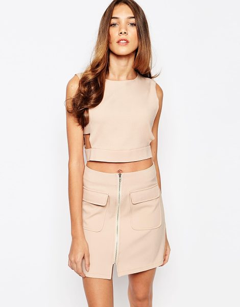Lola May crop top with cut out in nude - Top by Lola May, Lightweight woven fabric, Smooth...