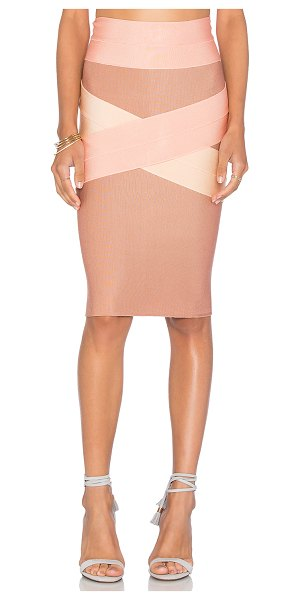 LOLITTA Bandage x front tri color skirt in rose - 70% viscose 26% nylon 4% spandex. Dry clean only....