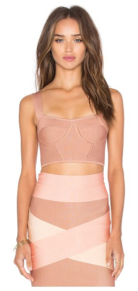 LOLITTA Bustier Crop Top in rose - 70% viscose 26% nylon 4% spandex. Dry clean only. Hidden...