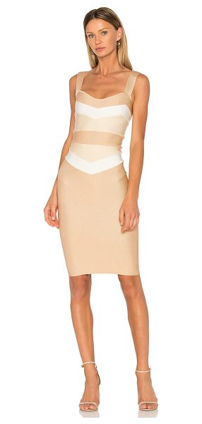 LOLITTA Estella Fitted Midi Dress in beige - 70% viscose 26% polyamide 4% spandex. Dry clean only....