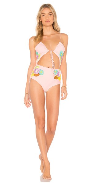 Lolli Smitten One Piece in pink - Nylon blend. Hand wash cold. Front tie closure. Woven...