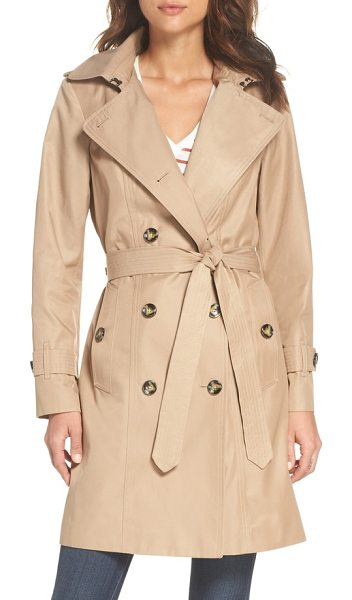 London Fog double breasted trench coat in br khaki - This business-like trench boasts a smart removable hood,...