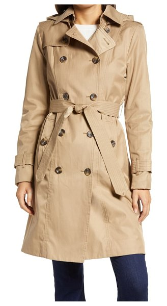London Fog double breasted trench coat with removable hood in beige