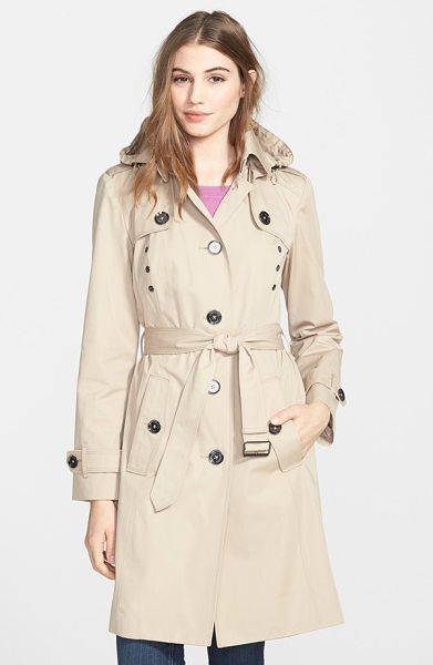 London Fog grommet detail long hooded trench coat in khaki - The classic trench coat, complete with button-down flaps...