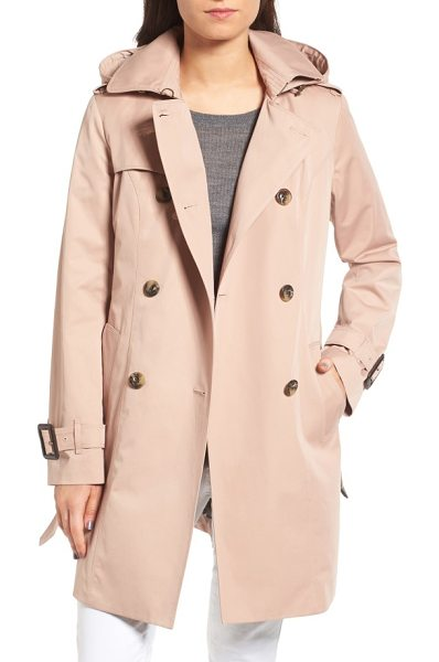 London Fog heritage trench coat with detachable liner in bisque - Time-tested details enhance the weather protection and...