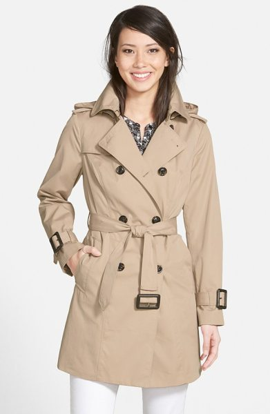 London Fog heritage trench coat with detachable liner in stone - Time-tested details enhance the weather protection and...