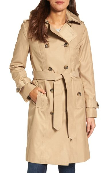 LONDON FOG hooded double breasted long trench coat - A classic raincoat, complete with belted cuffs and...