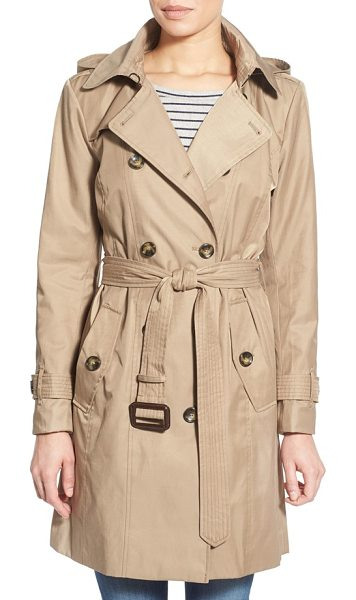 London Fog hooded double breasted trench coat in khaki - A hood adds to the all-weather versatility of a...