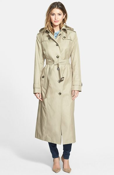 London Fog hooded long single breasted trench coat in khaki - The classic trench coat, complete with button-down flaps...