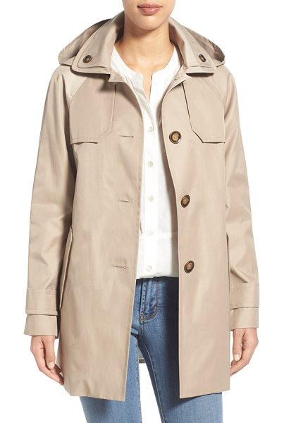 London Fog hooded single breasted a-line coat in stone - An A-line cut and raglan sleeves create an easy,...