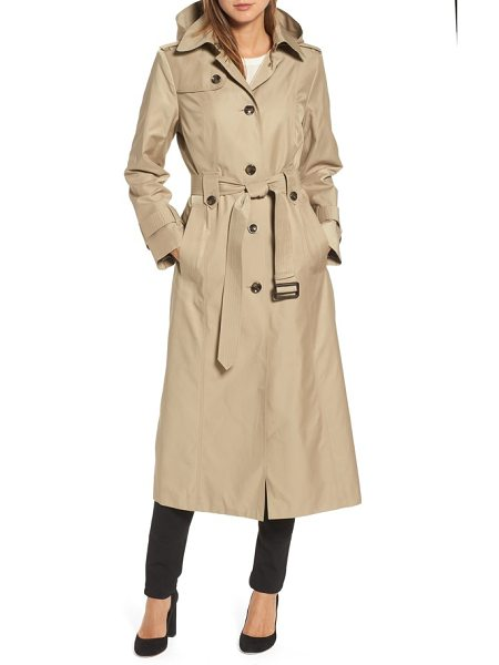 London Fog long trench coat in khaki - A classic raincoat, complete with belted cuffs and...