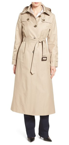 London Fog long trench raincoat with removable hood in toffee - A longer, belted silhouette creates elegant lines and...