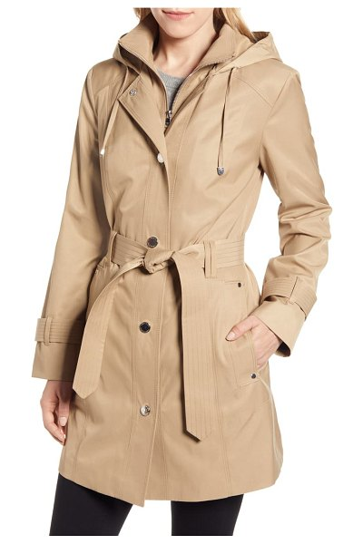 London Fog water repellent hooded trench coat with inset bib in beige