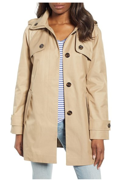 London Fog water repellent short trench coat in beige - Incorporating classic trench styling in a shorter...