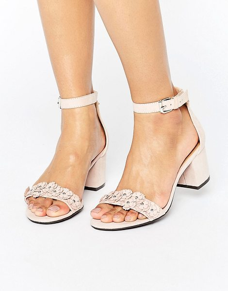 London Rebel Barely There Detail Heeled Sandal in beige - Shoes by London Rebel, Textile upper, Ankle-strap...