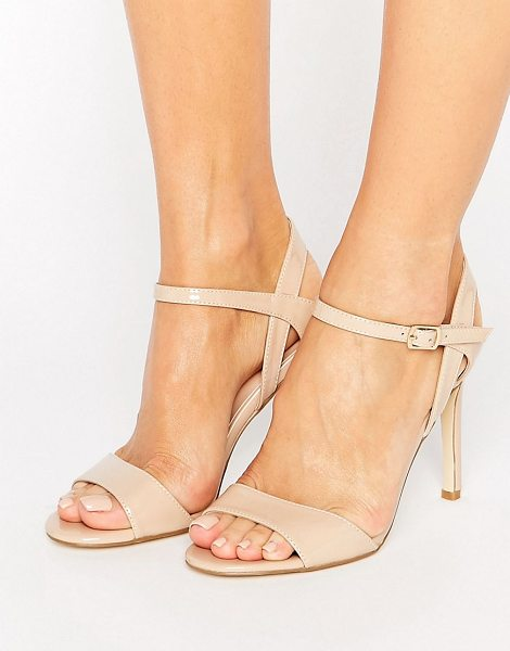 London Rebel Barely There Heeled Sandal in beige - Shoes by London Rebel, Faux-leather upper, Patent...