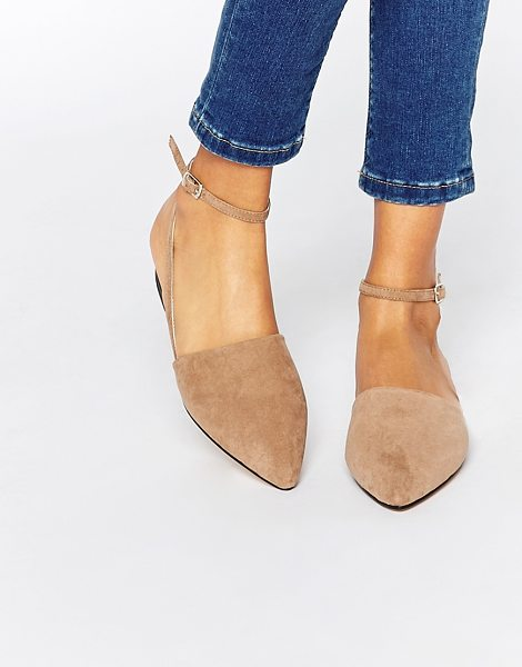 London Rebel Ankle strap point slingback flat shoes in taupe mf - Shoes by London Rebel Suede-look upper Cut-away detail...