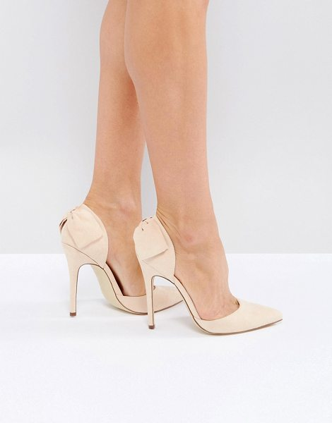 "London Rebel Bow Trim Point High Heels in beige - """"Heels by London Rebel, Faux-suede upper, Slip-on..."